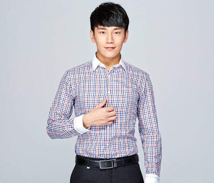 男士时尚职业装衬衫定制_男士撞色领衬衫定制
