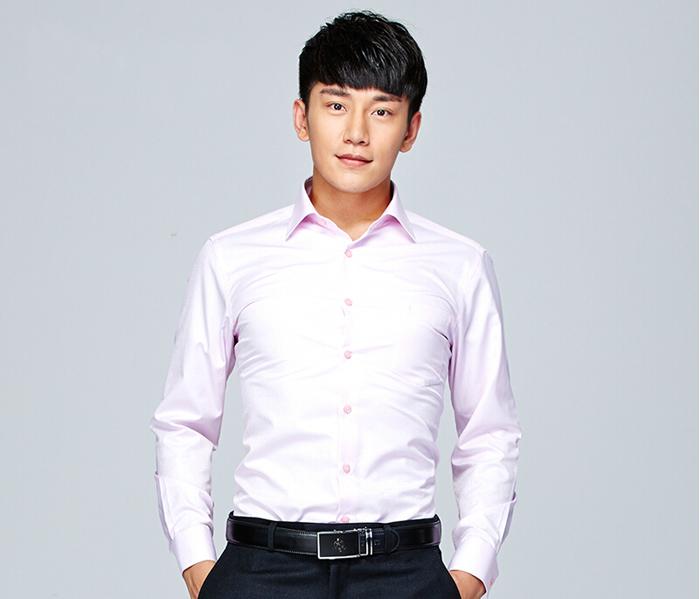 男士粉色衬衫定制_浅粉色男士衬衫