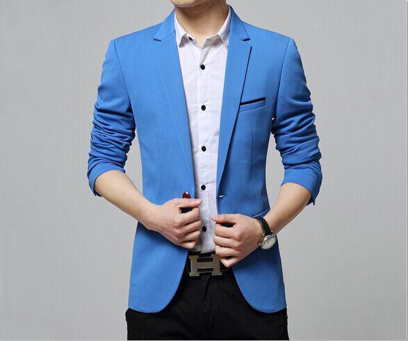 蓝色韩版修身款式西服定制,韩版修身款式西服定制